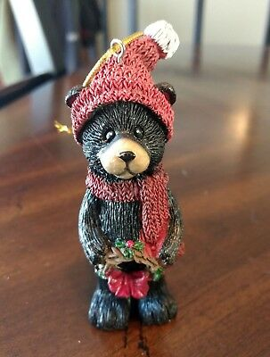 Christmas Black Bear Ornament with Wreath - NEW - 4 inch tall