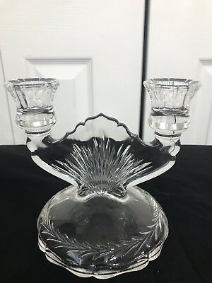 antique, retro double candle holder, clear glass - Art Deco Style -