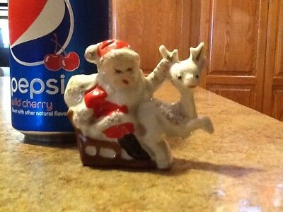 Vintage Santa W Sleigh & Reindeer Ceramic JAPAN-candy Container-ADORABLE
