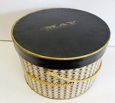 Vintage Storage Display Hat Box Argyle The May Co. Cleveland OH Advertising RARE