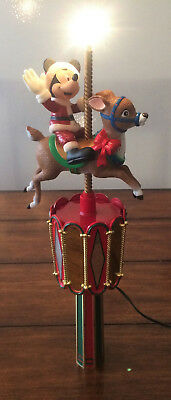 1997 Mr. Christmas Disney A Mickey Carousel Animated Tree Top Topper - No Star