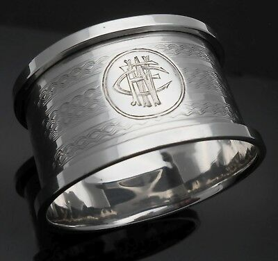Initials 'fcw' Napkin Ring - Sterling Silver - Birmingham 1912 - Antique