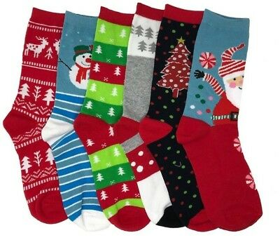 1 or 6 Pairs Crew Christmas Socks Cute LOT Casual Winter Xmas Gift USA Delivery