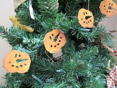"""Primitive Rusty Tin SNOWMAN FACE GARLAND 70"""" LONG with 2"""" Faces Winter Christmas"""