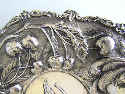 Antique Sterling Silver Centerpiece Cherries Bowl Mystery 900 Silver Mark