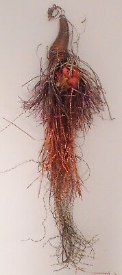 Antique Scrap Tinsel Christmas Tree Ornament Long Spray with Dried Flowers 8""
