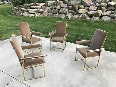 Mid Century Set Of Four Brass Frame Dining Chairs In Style Of Milo Baughman
