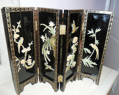 JADE Mid-Century Black Lacquer Oriental 4-Panel Table Screen MOP Birds/Lily Pads