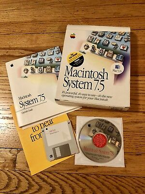Vintage APPLE MACINTOSH SYSTEM 7.5 ORIGINAL With Box RETAIL PACKAGE Software CD