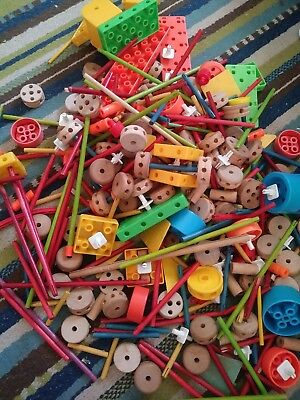 Bulk Lot Of Assorted Tinker Toys Pieces 4 Lbs 5 00 Picclick