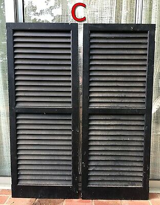 Pair Wood House Shutters Louvered Vintage Painted Old farmhouse decor 51x20 *C*
