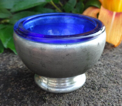 Mayflower Pewter Pedestal Open Salt Dip, Cellar, Dish w/Cobalt Blue Glass Liner!