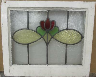 """OLD ENGLISH LEADED STAINED GLASS WINDOW Stunning Floral Design 20"""" x 17"""""""