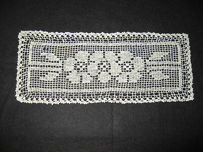 LP34 Antique Victorian Crochet Lace Trim Collar Doll House Doily Applique 12X5