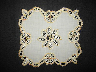 LP35 Antique Doily Gold Needlepoint Crochet Applique Trim Fashion Country Doll