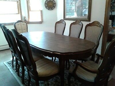 Bernhardt Dining Room Set with Eight (8) Chairs, Two (2) Leaves and Padding