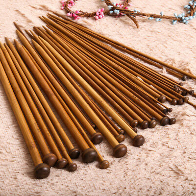 36x 18 Sizes Wooden Single Pointed Carbonized Bamboo Knitting Needles Crochet