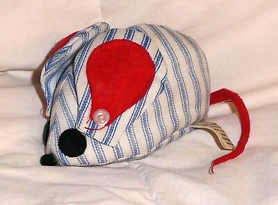 So Very Cute Vintage Hallmark Pin Cushion - Mouse  Pin Stripes  Blue, White, Red