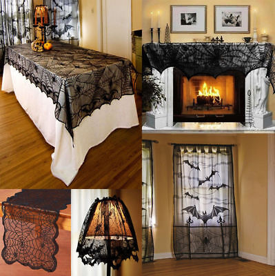 Tablecloths Black Spiderweb Fireplace