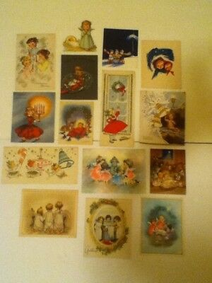 Vintage Lot Of 15 Angels & Girls Christmas Cards   Pre Owned Used