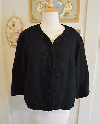 VTG 1950's Plus Size Suit With Top, Black Skirt, and Black Embroidered Jacket