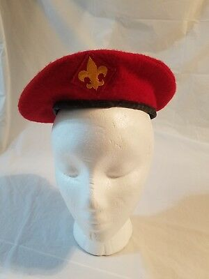 ed7351a298df8 Vintage Small Official Headwear Wool Boy Scouts Of America Red Beret Hat  40