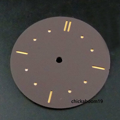 38.9MM Coffee Sterile Watch Dial Luminous Marks Fit For ETA 6497 ST3600 Movement
