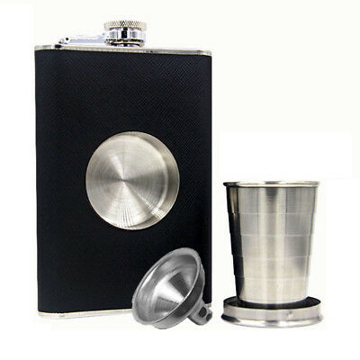 Stainless Steel Leather Wrap Liquor Hip Flask With Collapsible Shot Glass Funnel
