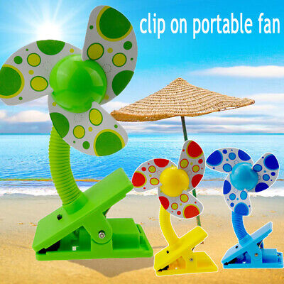 Portable Travel Fan Rechargeable USB Clip On Mini Desk Fan Pram Cot Car Fan 360°