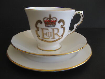 Queen Elizabeth II Silver Jubilee Tea Cup Saucer Plate Queen Anne China England