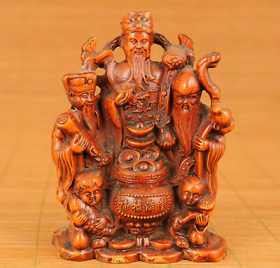 Rare Big chinese old Boxwood hand Carved Fulushou figure statue Ornament Collect