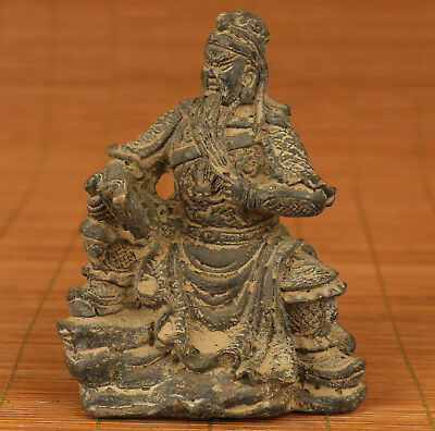 Big chinese old Bronze hand Carved Guangong statue Figure Ornament