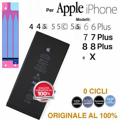 Batteria ORIGINALE per Apple iPhone 4 4s 5 5C 5S 6 6S 7 8 X e Plus zero Cicli
