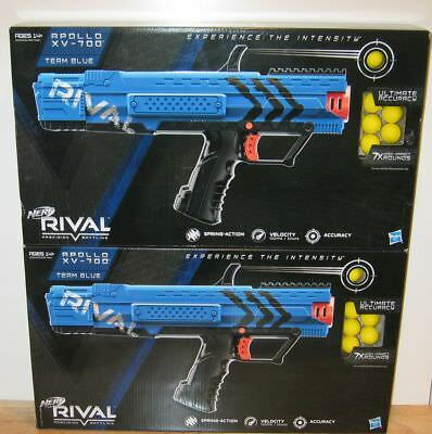 Lot of 2 Nerf Rival Apollo XV-700 Blasters Toy Blaster Gun Two Team Blue NEW