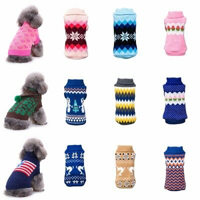 Small Pet Dog Cat Knitted Jumper Winter Sweater Puppy Warm Coat Jacket Clothes