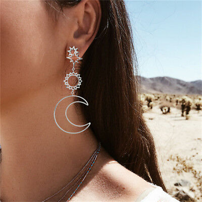 Women Asymmetrical Star Sun Moon Drop Dangle Stud Earrings Fashion Jewelry 6A
