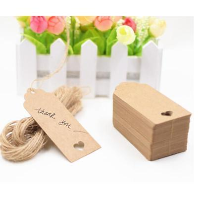 100pcs Heart Shaped Kraft Paper Cards Gift Favor Tags Price Tags For Wedding 6A