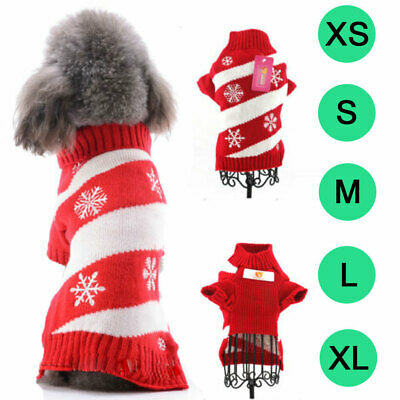 Xmas Small Dog Sweater Pet Clothes Christmas Snowflake Winter Warm Costume Coat