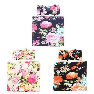 2pcs/set Cute Newborn Baby Bowknot Flower Print Swaddle Wrap Hairband Gift hv2n