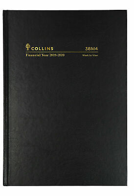 Collins 2019 2020 Financial Year Diary A5 Week to View Open Hardcover 38M4 Black