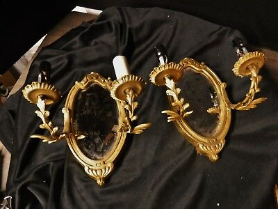 Pair Vintage Brass Mirror Electric Sconces antique