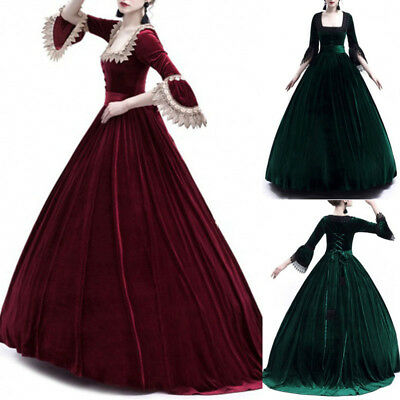 Women Victorian Vintage Ball Gown Wedding Party Dress Renaissance Costume Fancy