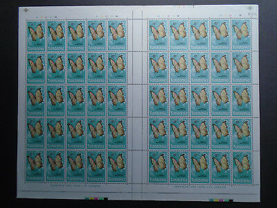 TANZANIA 1973 BUTTERFLIES Definitives Issue SHEET of 50 MNH value 10shillings.