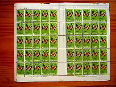 TANZANIA 1973 BUTTERFLY Issue FIVE SHILLINGS Complete SHEET of 50 MNH.