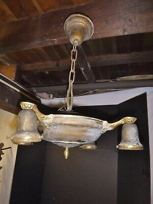 Antique Brass Hanging 4 light Pan Fixture ceiling  Victorian