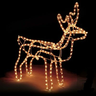 Large Christmas Reindeer Light Up Outdoor Garden Rope Decoration Silhouette