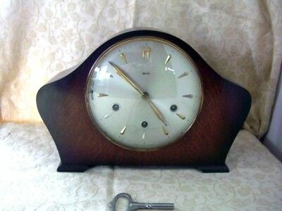 Vintage Art Deco'Smiths'-8-Day Mantel Clock, Westminster Chimes,floating balance