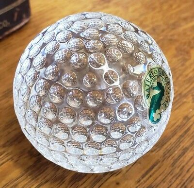 Vintage Waterford Crystal Golf Ball ~Etched/ Mint~Made in Ireland! Free ship!