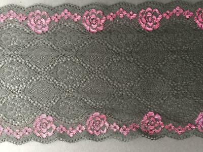 Wide Black Decorated Elastic Lace