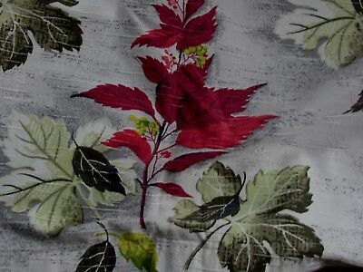 2 Vintage drape/curtain panels Autumn Leaves Slubbed Fabric 50's era retro
